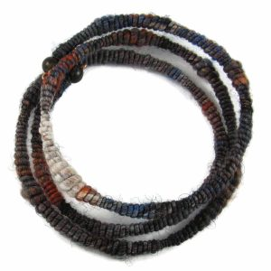 Handmade coil bangle with handspun yarn and jasper