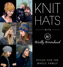 Book cover for knit hats. 6 different hats are shown in a collage.