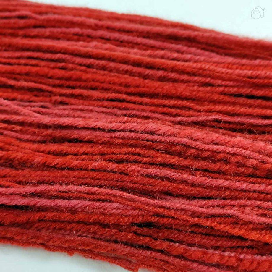 red handspun yarn detail
