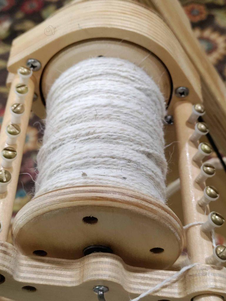 churro on a spinning wheel, progress plying