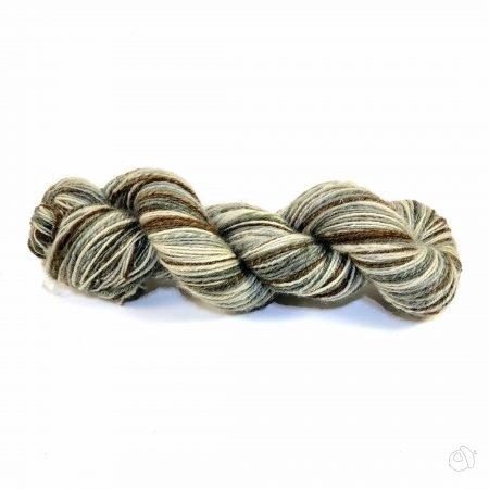 hand supn yarn in browns, ecru, and grey-green shades,