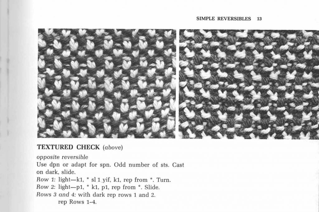 """Example stitch from Reversible Two-Color Knitting, page 13. """"Textured Stitch""""."""