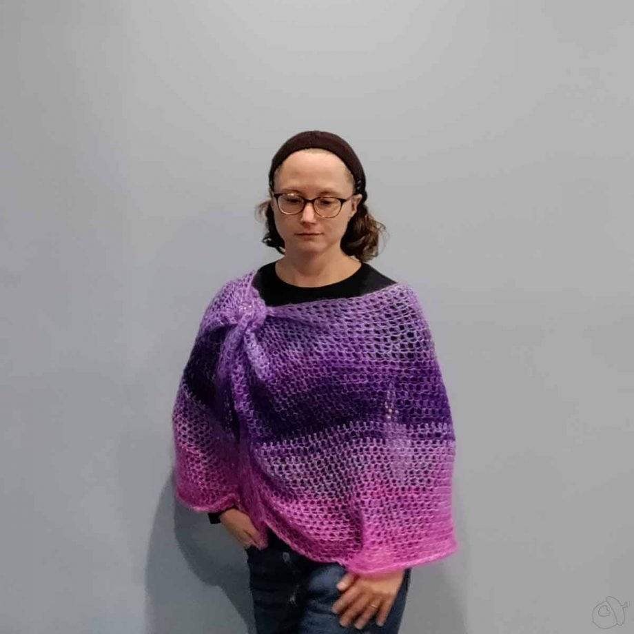 Cirrostratus Cowl, worn with excess pinned at one shoulder like a poncho